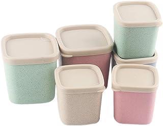WWJHH-Food storage box Boîte de Rangement de Cuisine - 6 Ensembles de Paille de blé - Boîtes scellées - Résiste à l'humidi...
