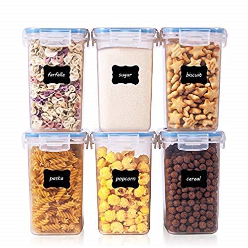 Vtopmart 1.6L Vorratsdosen Set, Müsli Schüttdose & Frischhaltedosen, BPA frei Kunststoff Vorratsdosen luftdicht, Satz mit 6, 24 Etiketten für Getreide, Mehl, Zucker usw (Blau)