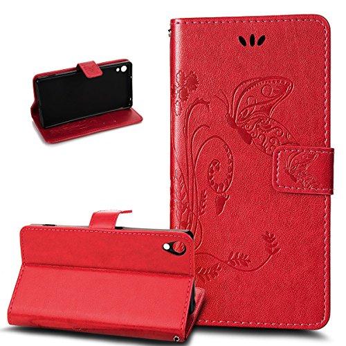 Kompatibel mit Sony Xperia Z2 Hülle,Sony Xperia Z2 Lederhülle,Prägung Groß Schmetterling Blumen PU Lederhülle Flip Hülle Cover Ständer Karten Slot Wallet Tasche Hülle Schutzhülle für Sony Xperia Z2,Rot
