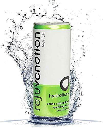 Rejuvenation Water Regenerationsgetränk - Limette und Zitrone Sprudel Mineralwasser mit Aminosäuren, pflanzlichem Protein und Elektrolyte - 12 x 250 ml