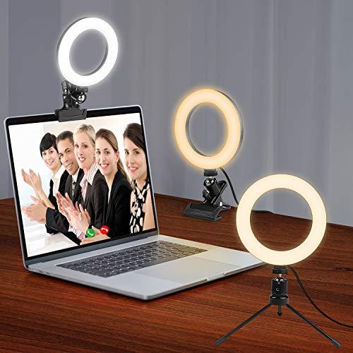Witacles Ringlicht Videokonferenz-Beleuchtungsset mit Clip, Stativ 2 in 1 Gerät für Mobiltelefone Dimmbares LED-Make-up-Licht für Live-Stream/YouTube/TikTok/Fotografie (SizeA)