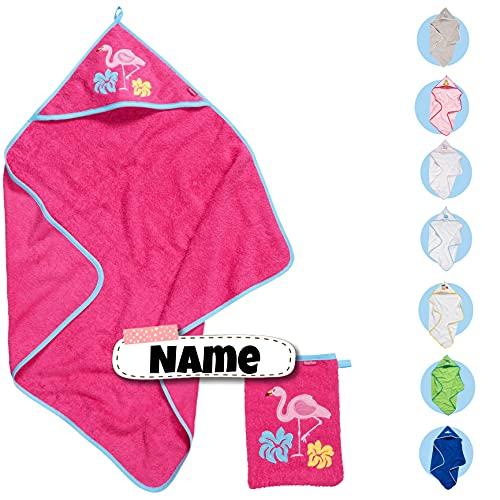 Baby Kapuzenhandtuch Set mit Waschlappen | Baby Handtuch Kapuzenbadetuch 75 x 75 cm | personalisiert mit Name | Baby Badetuch Bestickt mit Namen | Jungen Mädchen (Pink Flamingo)
