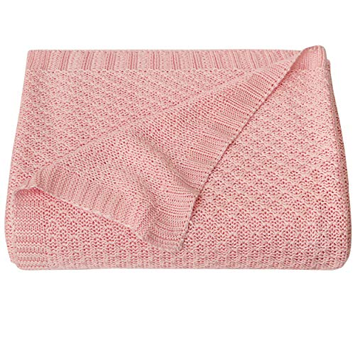 NTBAY Natural Bamboo Cable Knit Baby Blanket, Soft and Cooling Touch Toddler Blanket, 30 x 40 Inches, Pink