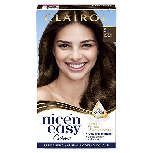 Clairol Nice' n Easy Crème Natural Looking Oil Infused Permanent Hair Dye 5 Medium Brown, 177ml
