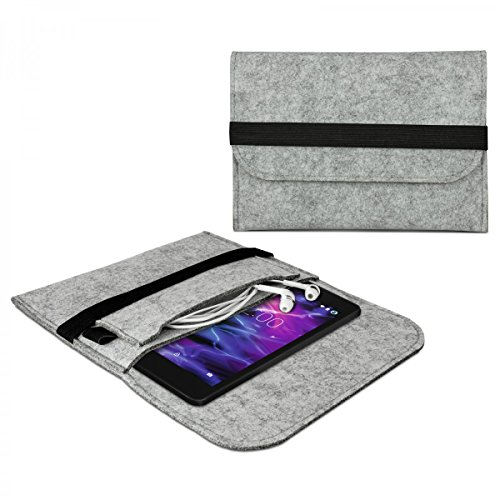 eFabrik Tasche für Medion E6912 Schutzhülle E-Tab (6,95') Hülle Schutztasche Case Cover Sleeve Filz, Farbe:Grau