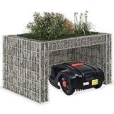vidaXL Rasenmäher Garage mit Hochbeet Gabione Unterstand Carport Überdachung für Mähroboter Rasenroboter Robotermäher 110x80x60cm Stahldraht