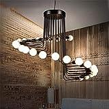 Lámparas De Araña Retro Simple Colgante Araña Loft 26 Cabezas Espiral Escalera...