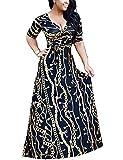 Locryz Women's V Neck 3/4 Sleeve Digital Floral Printed Party Loose Long Maxi Dress with Belt S-3XL (L, BlackGold)