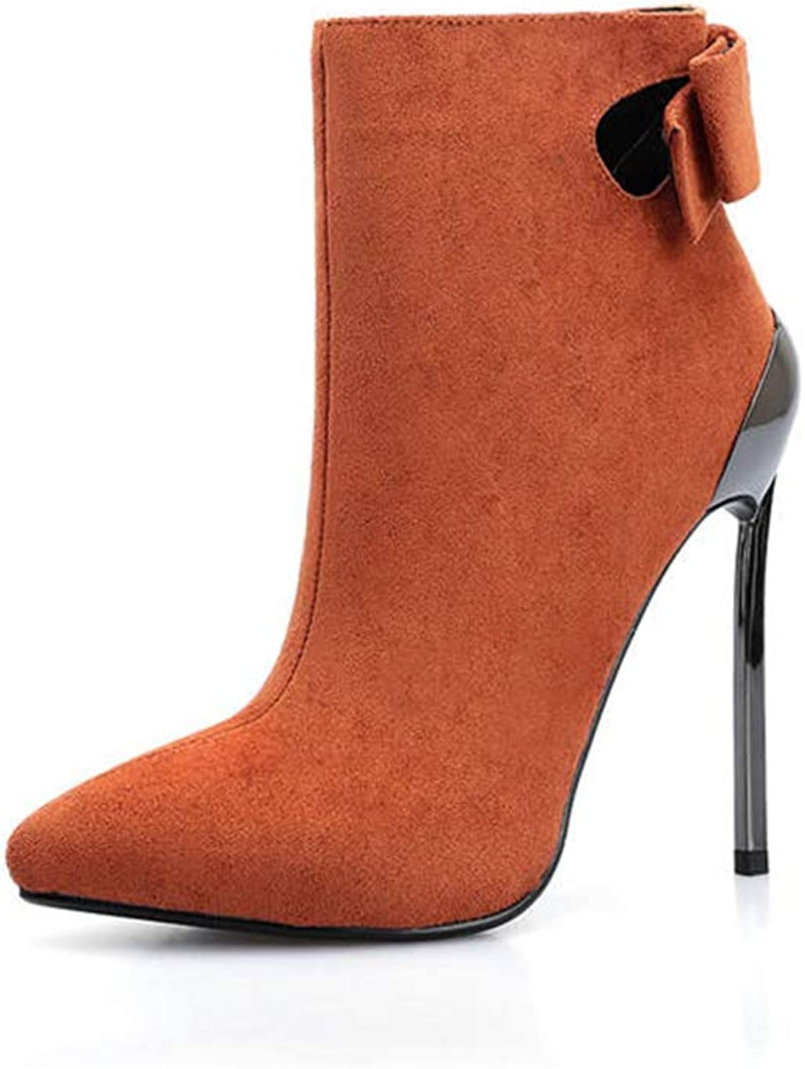 T-JULY Suede Leather Ankle Boots Women Pointed Toe Autumn Winter Boots Sexy Super Heel Slip on Dress Prom shoes