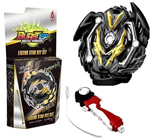 ML Juego peonza de Batalla , Lanzador de Mano de peonza Infinity Juguete con Lanzador de Mano Espada Estilo Bey. Juguete para niños Color Negro