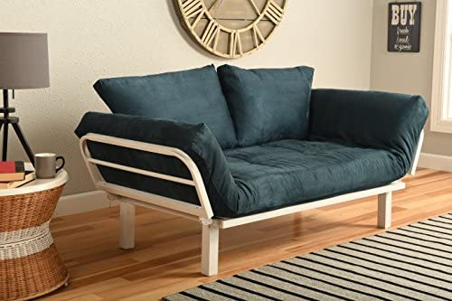 White Metal Frame Small Futon Lounger Furniture for Studio Loft College Dorm Apartments Guest product image