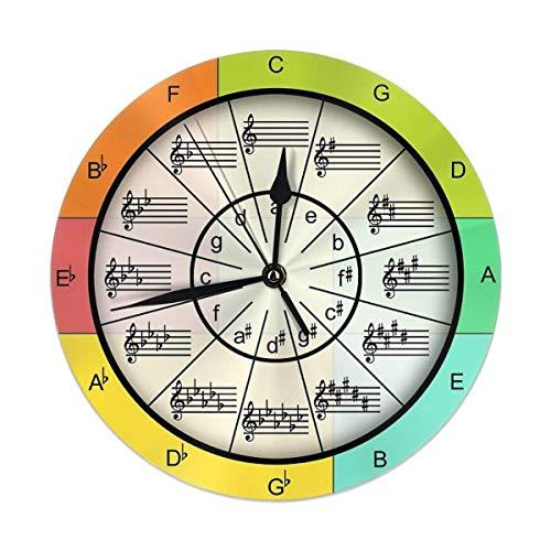 gardenia store Circolo delle quinte per Colorful Musica Rotonda Orologio da Parete Home Decor 9.84'