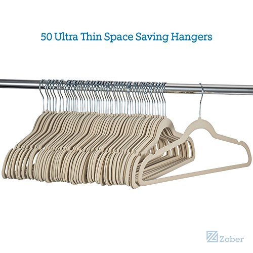 Zober Premium Quality Space Saving Velvet Hangers Strong and Durable Hold Up To 10 Lbs - 360 Degree Chrome Swivel Hook - Ultra Thin Non Slip Suit Hangers - 50 pack (Ivory)
