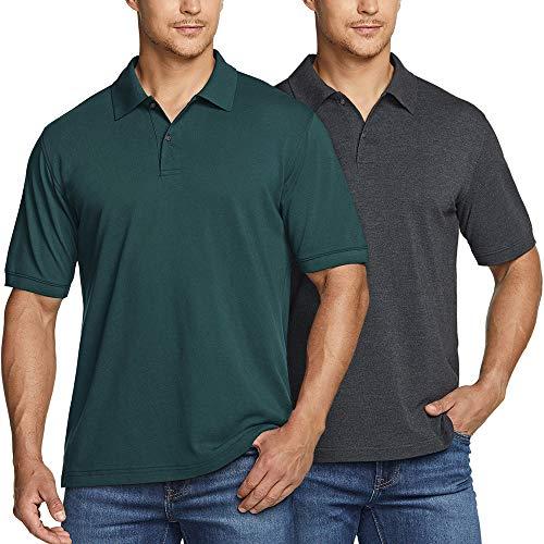 ATHLIO(アスリオ) ポロシャツ メンズ 半袖 鹿の子編み ゴルフシャツ 2枚セット [UVカット・吸汗速乾] ゴルフ ゴルフウェア テニス スポーツシャツ 大きいサイズ ドライ 作業着 ボタンダウン 黒 白 ポロシャツ CTK01-GCH_XL