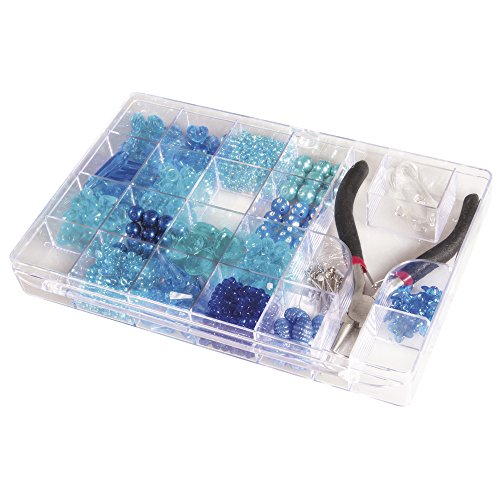 RAYHER 14797376 Perlen-Box mit Zange, Kunststoff, blau, 20 x 14 x 2,7 cm