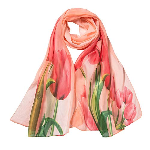 Xmiral Damen Schal Fashion Peach Blossom Druck Lang Weich Wrap Schal Damen Schal Schals(Orange)