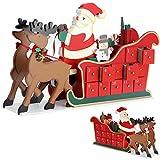 Deuba Calendario dell' Avvento riempibile slitta di natale 24 piccoli regali in legno Natale bambini Decorazione natalizia