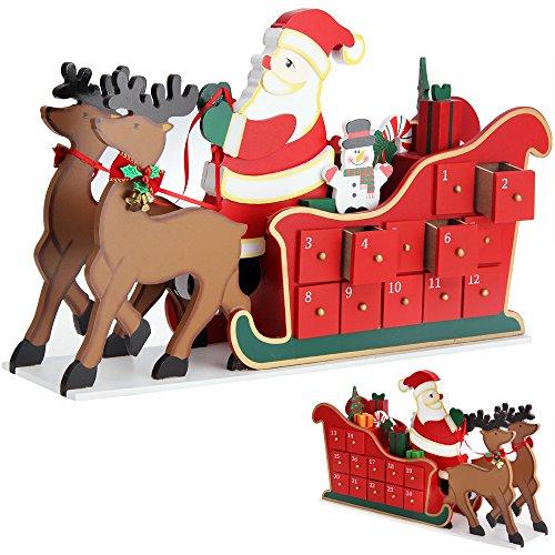 Deuba Calendario de Adviento de Madera Trineo con Renos 24 cajoncitos con pomo Adorno personalización DIY decoración