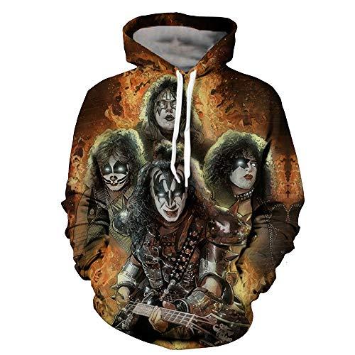Preisvergleich Produktbild TANGNIU Weihnachten 3D Print Hoodie Print Farbe Sweatshirt Langarm Pullover Kordelzug Tasche Pullover A-1239 kiss-XXL