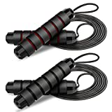 """VANWALK Speed Jump Rope Workout for Fitness Tangle-Free with Ball Bearings, 6"""" Memory Foam Anti-Slip Handles, Adjustable 9' Rapid Cable Skipping Rope for Men Women Home Exercise (2 Pack)"""