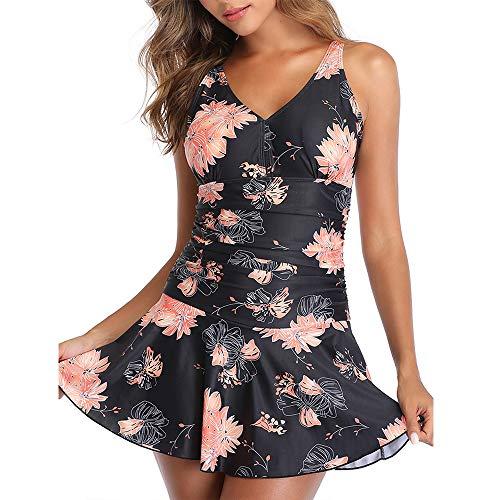 Summer Mae Damen Badekleid Plus Size Geblümt Figurformender Einteiler Badeanzug Swimsuit mit Verstellbarer Schultergurten Schwarz Rosa Blumen (EU Size 42-44)-L