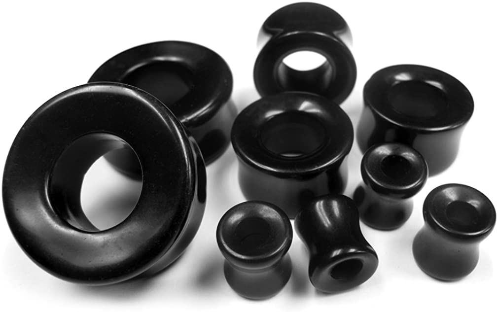 Urban Body Jewelry 1 Pair of 1 Inch Gauge (25mm) Black Obsidian Stone Tunnel Plugs - Double Flared