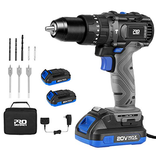 Cordless Drill Driver Kit, 20V Max Brushless Hammer Drill with 2Pcs 2.0Ah Batteries and Fast Charger, 530 In-lbs Torque, 1/2' Keyless Metal Chuck, 2-Variable Speed for Drilling Wood, Metal, Concrete