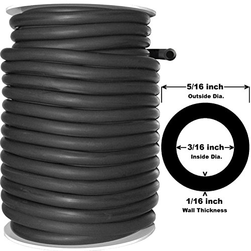 USA Premium Store 5 Continuous Feet 5//16 ID 7//16 OD Latex Rubber Tubing Black 1//16 wall Surgical