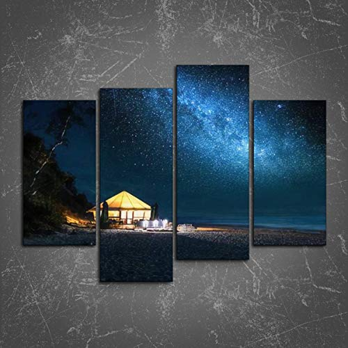 PeeNoke Wall Art: Beach with Glowing Tent at Night with Stars Print On Canvas Wall Decor Painting for Home Modern Decor 4 Panel