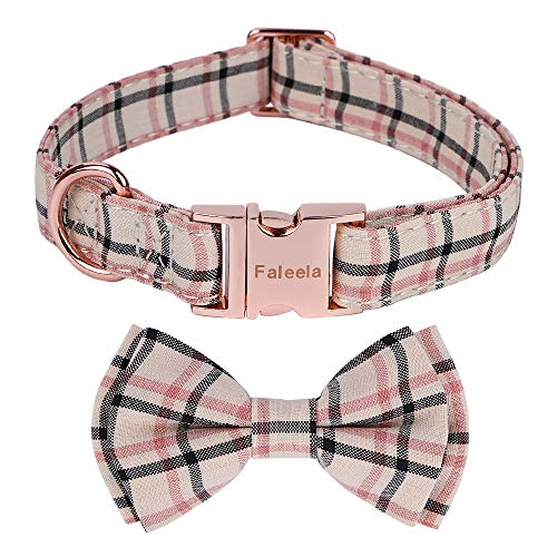 Faleela Dog Collar with Bow, Cotton & Webbing,Classic Plaid, Adjustable Dog Collars for Small Medium Large Dogs (L, Light Brown)