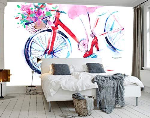"""3D Geschilderde Fiets WG0059 Behang Afdrukken Decal Deco Binnen Muur Muurschildering Zelfklevend Behang AJ WALLPAPER NL Muzi (Geweven papier (lijm nodig), 【123""""x87""""】312x219cm(WxH))"""