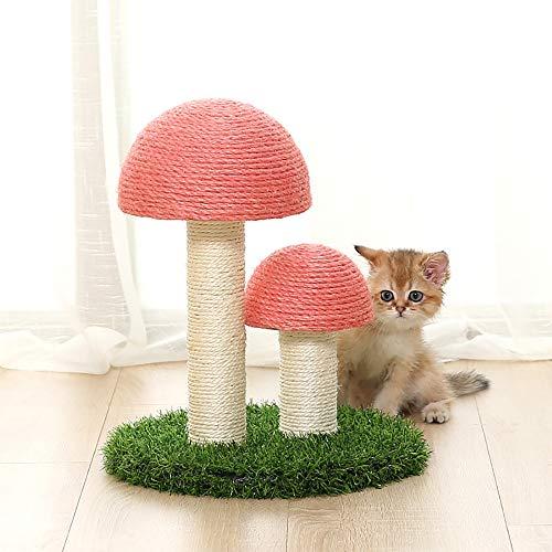 NIBESSER Kratzbaum Pilz Katzenkratzbaum Katzenmöbel Klein Kletterbaum für Kätzchen & Katze Natur Sisal Katzenkratzer für Indoor(Pink,30x36 cm)