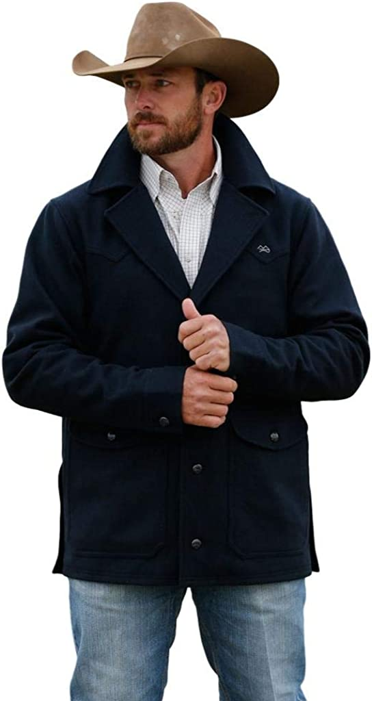 Miller Ranch Western Jacket Mens Wool Lined Button Navy DWJ2008003