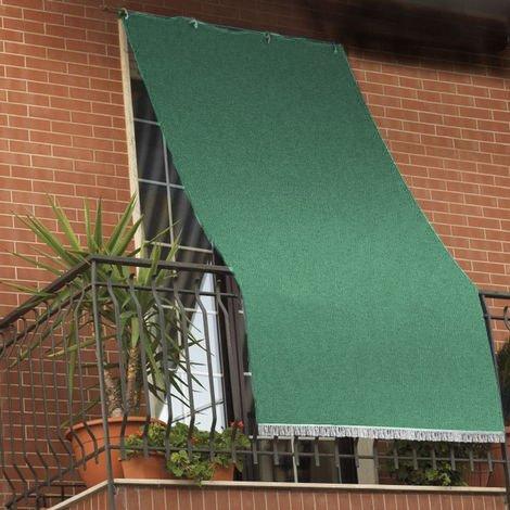 Cortina parasol con anillas para balcón hecha de tela resistente y lavable, color verde, verde