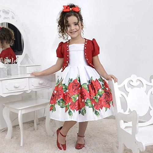 vestido infantil com rosas vermelhas