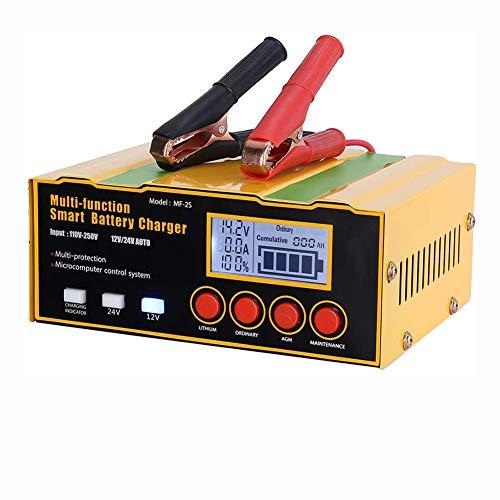 NCBH Cargador baterias Coche 12A 12V/8.5 A 24V Cargador Automático Inteligente para Batería de Litio Plomo Acido con Pantalla LCD para Coche, Camión, Motocicleta,US