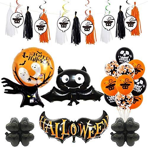 Halloween Partij Ballon Decoraties Set,25 Stks Fringe Tassel Garland Decor met folie Swirl Balls Gekleurde Streamers Heks Geest Schedel Aluminium