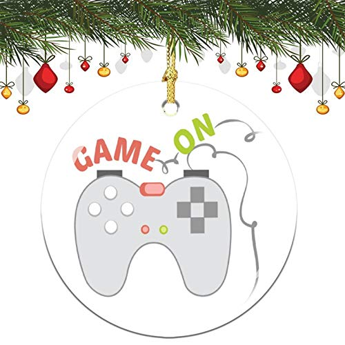3 Inch Christmas Ornament, Game On Xmas Ornaments, Keepsake Gift Memorial Peace & Happiness Christmas Decorations