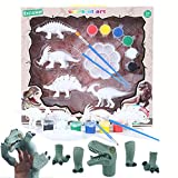 Makers R Us 3D Painting Dinosaurs Figurines and 5 Pcs Dinosaurs Finger Puppets for Kids DIY Arts Crafts | Party Toys | Birthday Gift | Role Playing Toys for Kids and Adults