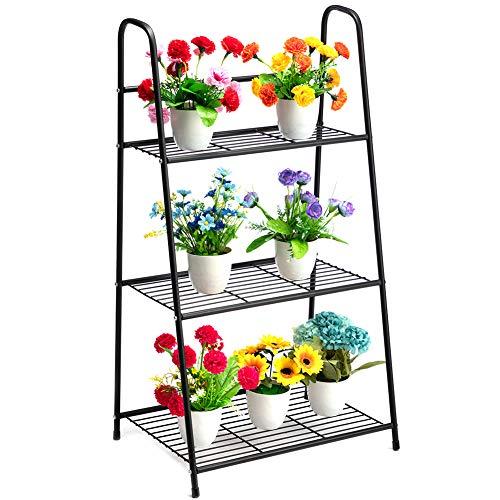 DOEWORKS - Soporte de metal para plantas de 3 niveles, con forma de escalera, organizador de zapatos, almacenamiento para uso en interiores y exteriores, color negro