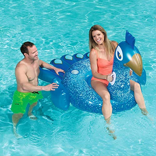 Aufblasbarer,Riesen-Inflatable Peacock Pool Float, Fun Beach Floaties, Swim Party Toys, Summer Pool Raft Lounge für Erwachsene Kinder