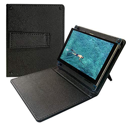 5インチディスプレイ、スタンド付きレザーケース、LCD モニター - 静電容量式タッチスクリーン、解像度800x480、Raspberry Pi 4、Win10 IOTおよびラップトップと互換性-角度調整可能 (黒)