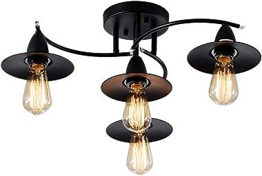 Modern Ceiling 4 Lights Industrial Spiral Semi-Flush Mount Ceiling Light Lamp Fixtures Black Painted Finish; Moonkist (No Bul