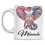 Tazza da caffè con elefante personale Nome Tazza da caffè in ceramica bianca Minnie stampata su entrambi i lati perfetta per il compleanno per lui, lei, ragazzo, ragazza, marito, moglie, uomini e donn