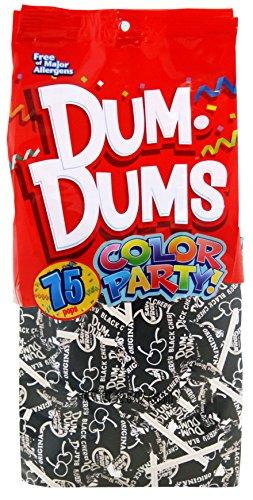 Dum Dums Color Party Lollipops, Black, Black Cherry Flavor, 12.8 Ounce, 75 Count Bag
