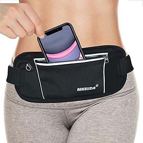 AIKELIDA Running Belt Fanny Pack - Runners Belt Waist Pack Fitness Gear Accessories - Running Pouch iPhone Xr Xs Max X 8 7 Plus for Women Men - Black