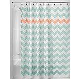 iDesign Chevron Duschvorhang Textil | leicht zu pflegener Duschvorhang aus Stoff mit verstärkten Löchern | Badewannenvorhang mit Zickzack-Muster | Polyester türkis/koralle