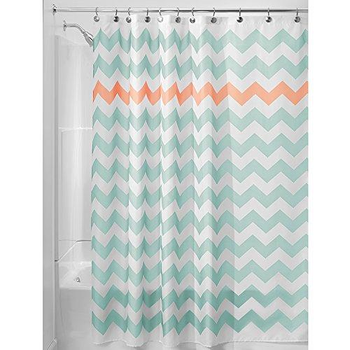 iDesign Chevron Duschvorhang Textil | pflegeleichter Duschvorhang aus Stoff mit verstärkten Löchern | Badewannenvorhang mit Zickzack-Muster | Polyester türkis/koralle