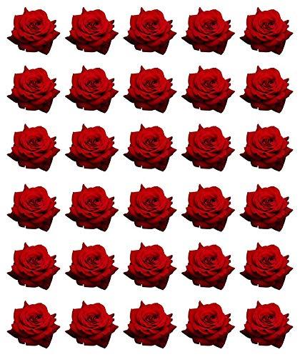 30 obleas de papel comestible para cupcakes de rosas rojas para tartas de cumpleaños