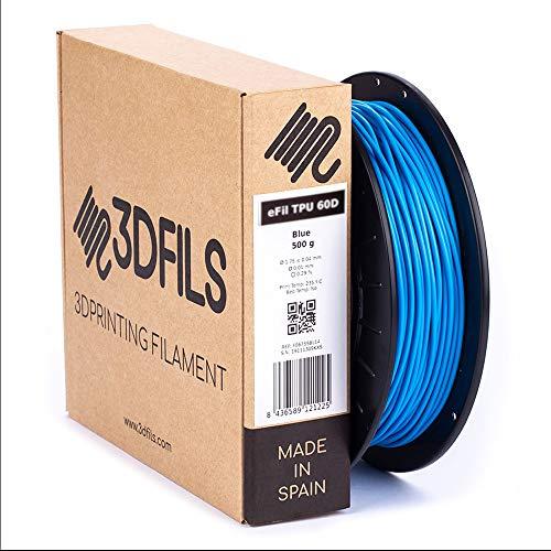 3DFILS Flexible 3D Printing Filament eFil TPU 60D 2.8mm 500g Blue